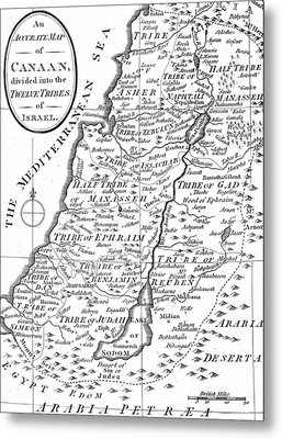 Map Of Canaan Showing The Twelve Tribes Metal Print