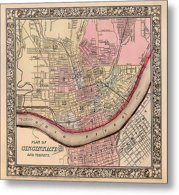 Map Of Cincinnati Ohio 1864 Metal Print by Mountain Dreams