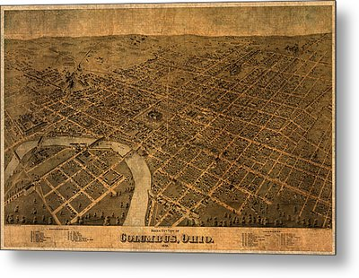 Map Of Columbus Ohio Vintage Street Schematic Birds Eye View On Worn Parchment Metal Print
