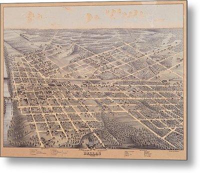 Map Of Dallas 1872 Metal Print