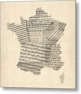 Map Of France Old Sheet Music Map Metal Print by Michael Tompsett