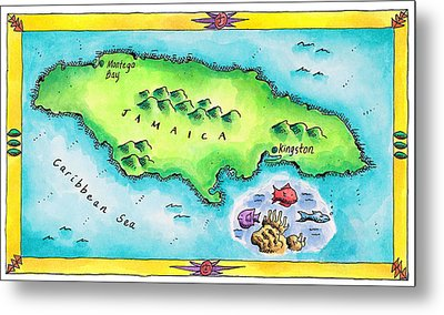 Map Of Jamaica Metal Print by Jennifer Thermes