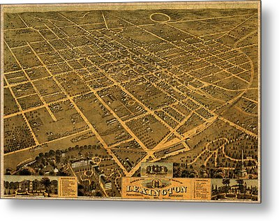 Map Of Lexington Kentucky Vintage Birds Eye View Aerial Schematic On Old Distressed Canvas Metal Print