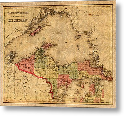 Map Of Michigan Upper Peninsula And Lake Superior Vintage Circa 1873 On Worn Distressed Canvas  Metal Print by Design Turnpike