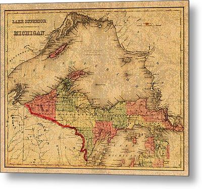 Map Of Michigan Upper Peninsula And Lake Superior Vintage Circa 1873 On Worn Distressed Canvas  Metal Print