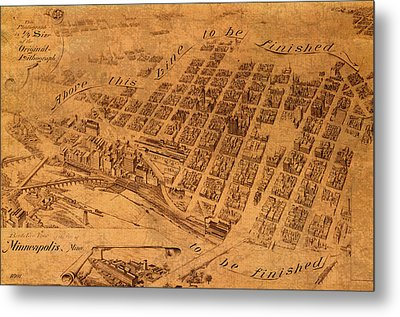 Map Of Minneapolis Minnesota Vintage Birds Eye View Aerial Schematic On Old Distressed Canvas Metal Print