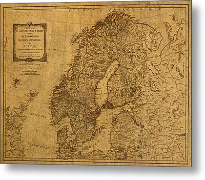 Map Of Norway Sweden Denmark And Scandinavia Circa 1794 On Worn Distressed Parchment Metal Print by Design Turnpike
