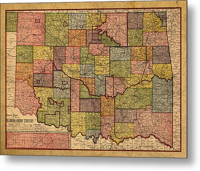 Map Of Oklahoma Vintage Antique Of Worn Canvas 1905 Metal Print by Design Turnpike