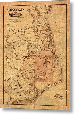 Map Of Outer Banks North Carolina Dismal Swamp Canal Currituck Albemarle Pamlico Sounds Circa 1867  Metal Print by Design Turnpike