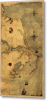 Map Of Outer Banks Vintage Coastal Handrawn Schematic On Parchment Circa 1585 Metal Print by Design Turnpike