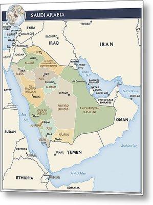 Map Of Saudi Arabia Metal Print