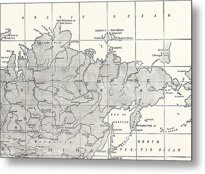 Map Of Siberia And Part Of China Metal Print
