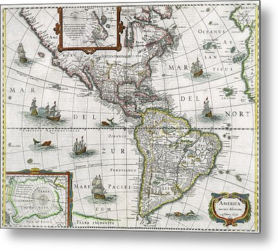 Map Of The Americas Metal Print by Henricus Hondius