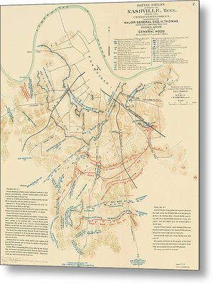 Map Of The Battle Of Nashville - American Civil War Metal Print by Mountain Dreams