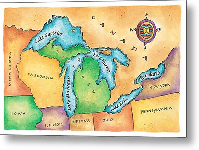 Map Of The Great Lakes Metal Print by Jennifer Thermes
