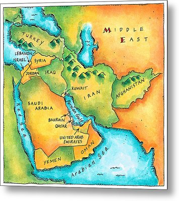 Map Of The Middle East Metal Print