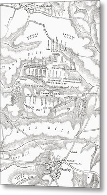 Map Of The Site Of The Battle Of Metal Print by Vintage Design Pics