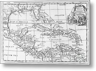 Map Of The West Indies Florida And South America Metal Print by English School