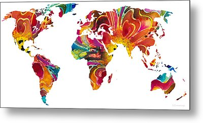 Map Of The World 2 -colorful Abstract Art Metal Print by Sharon Cummings