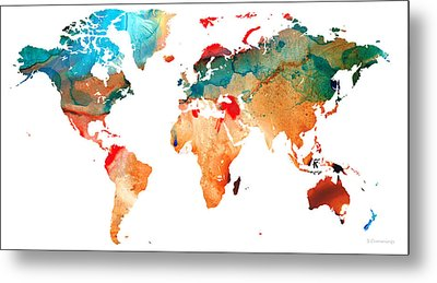 Map Of The World 7 -colorful Abstract Art Metal Print by Sharon Cummings