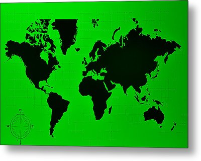 Metal Print featuring the photograph Map Of The World Green by Rob Hans