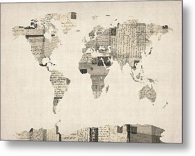 Map Of The World Map From Old Postcards Metal Print by Michael Tompsett