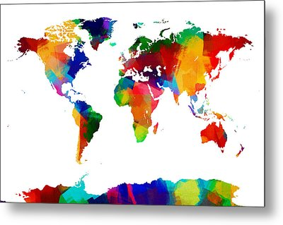 Map Of The World Map Painting Metal Print by Michael Tompsett