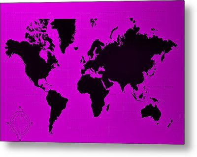 Metal Print featuring the photograph Map Of The World Purple by Rob Hans