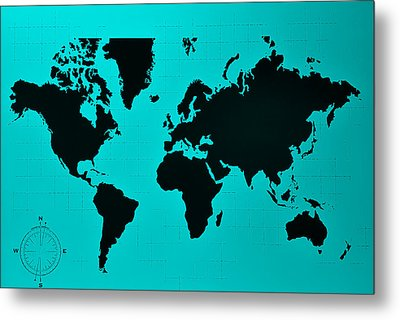 Metal Print featuring the photograph Map Of The World Turquoise by Rob Hans