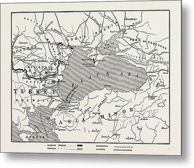 Map Of Turkey And Southern Russia Metal Print by English School