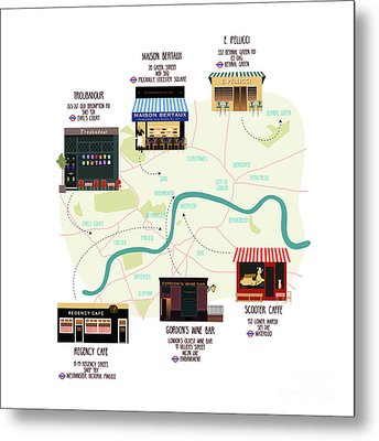 Map Of Unique London Eateries And Bars Metal Print