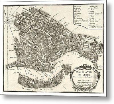 Map Of Venice - 1764 Metal Print by Pablo Romero