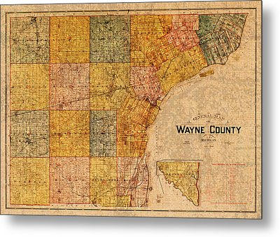 Map Of Wayne County Michigan Detroit Area Vintage Circa 1893 On Worn Distressed Canvas  Metal Print by Design Turnpike