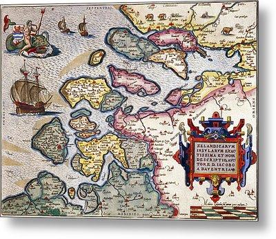 Map Of Zeeland Metal Print by Abraham Ortelius