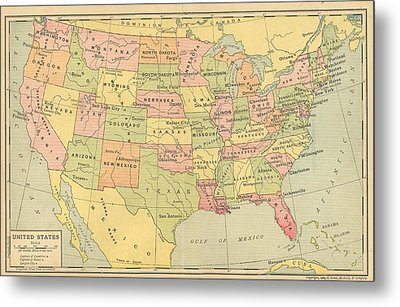 Metal Print featuring the digital art Map Usa 1909 by Digital Art Cafe