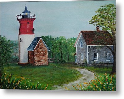 Metal Print featuring the painting Marbelhead Lighthouse by Debbie Baker