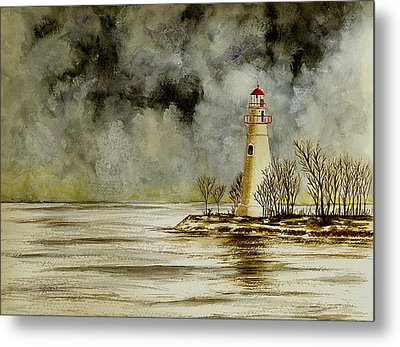 Marblehead Lighthouse In The Winter Metal Print by Michael Vigliotti