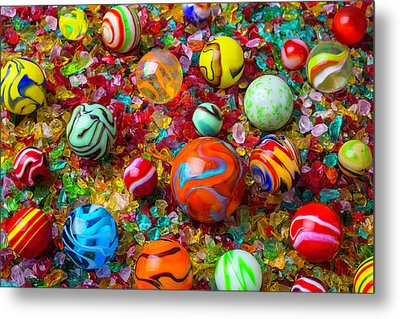 Marbles On Crushed Glass Metal Print by Garry Gay