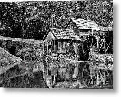 Metal Print featuring the photograph Marby Mill In Black And White by Paul Ward