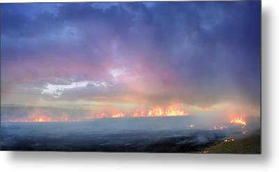 March Burning Of The Prairie Metal Print by Rod Seel