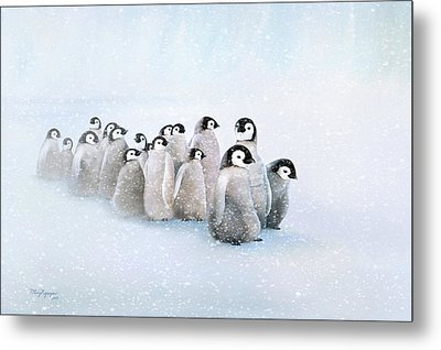 Metal Print featuring the digital art March Of The Penguins by Thanh Thuy Nguyen