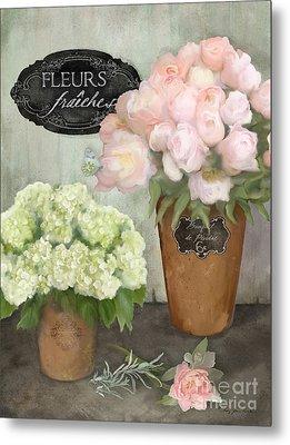Marche Aux Fleurs 2 - Peonies N Hydrangeas Metal Print by Audrey Jeanne Roberts