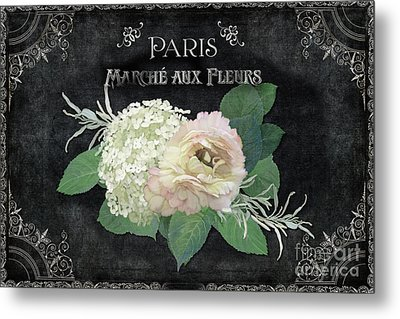 Metal Print featuring the painting Marche Aux Fleurs 4 Vintage Style Typography Art by Audrey Jeanne Roberts