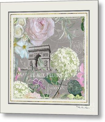 Metal Print featuring the painting Marche Aux Fleurs Vintage Paris Arc De Triomphe by Audrey Jeanne Roberts