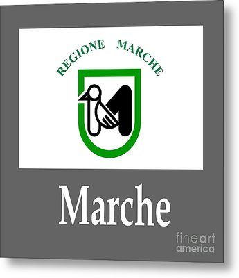 Marche, Italy Flag And Name Metal Print by Frederick Holiday