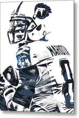 Metal Print featuring the mixed media Marcus Mariota Tennessee Titans Pixel Art by Joe Hamilton