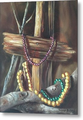 Metal Print featuring the painting Mardi Gras Beads And Hurricane Katrina by Randol Burns