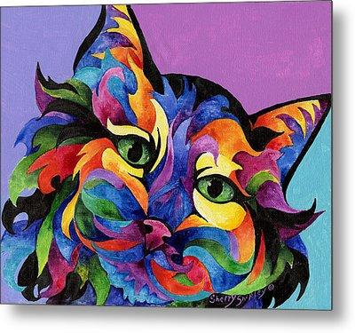 Mardi Gras Cat Metal Print by Sherry Shipley