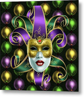 Mardi Gras Mask And Beads Metal Print