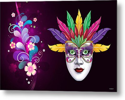 Metal Print featuring the photograph Mardi Gras Mask On Floral Background by Gary Crockett